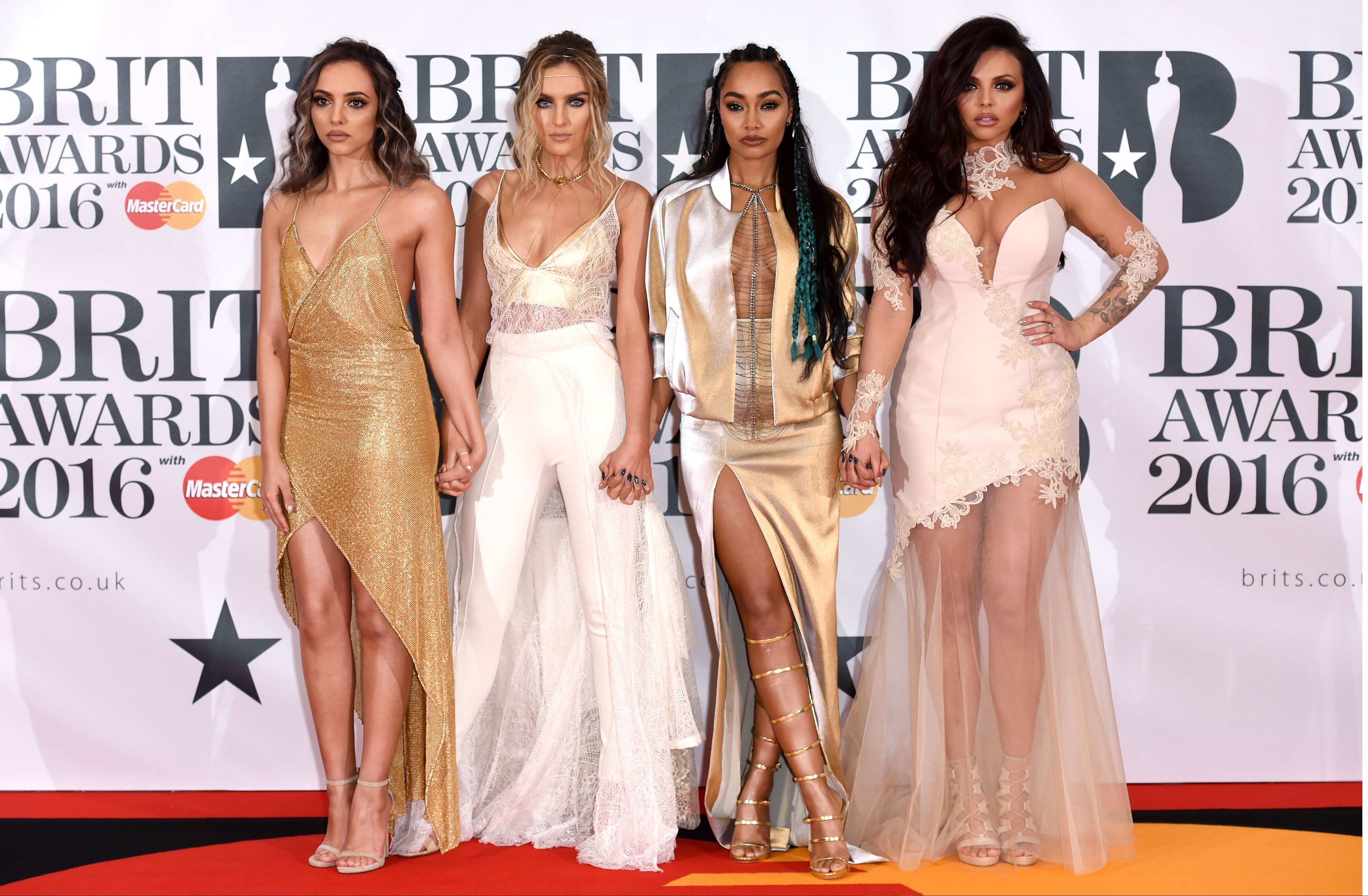 Mandatory Credit: Photo by David Fisher/REX/Shutterstock (5593462cn) Little Mix The Brit Awards, Arrivals, O2 Arena, London, Britain - 24 Feb 2016